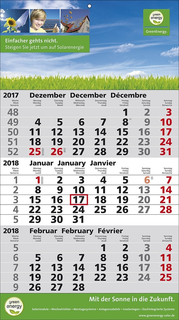 1-Block-Wandkalender 2Plus  3-sprachig