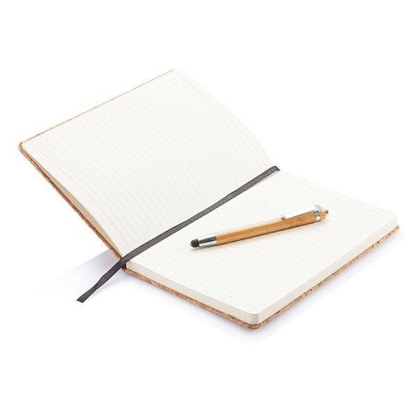 Kork A5 Notizbuch mit Bambus Stift und Stylus, Ansicht 2