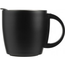 Doppelwandiger Kaffeebecher Cowboy aus Edelstahl (350 ml) - Schwarz