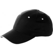 Baseball-Sandwich-Cap, 6 Panel - Schwarz