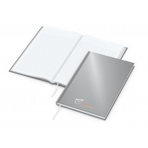 Note-Book A5 Cover-Star matt-silber, Siebdruck-Digital x.press
