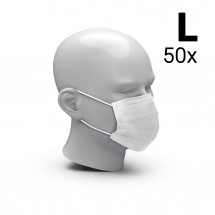 """Mund-Nasen-Schutz """"3-Ply"""" 50er Set, Größe L, weiß"""