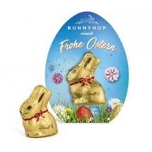 Lindt Mini Goldhase in Osterei-Werbekartonage