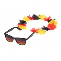 Spaßbrille  Germany mit Blumenkette, schwarz/rot/gelb