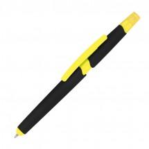 Kugelschreiber aus Plastik mit Textmarker und Touchfunktion - gelb