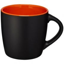 Riviera Keramik Tasse - schwarz,orange
