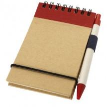Zuse Notizbuch mit Stift - rot / beige