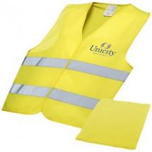 Professionelle Warnweste in Hülle - gelb