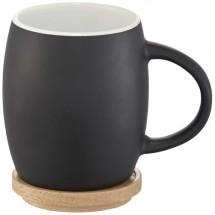 Hearth Keramiktasse mit Holz Deckel/Untersetzer - schwarz,weiss