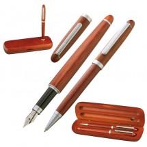 Holz-Schreibset Kugelschreiber u. Füller - braun