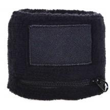 Armschweißband 6cm mit Reißverschluss und Label - schwarz