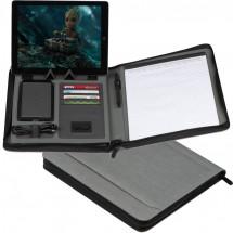 Schreibmappe mit 20 Blatt und integrierter Powerbank - grau