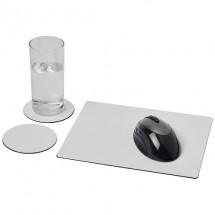 Brite-Mat® Mousepad- und Untersetzer-Set 2- schwarz