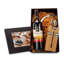Geschenkset: Buche-Block mit Wein