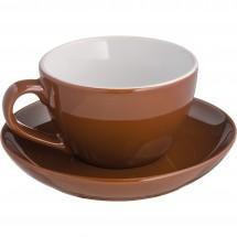 Tasse mit Unterteller St. Moritz - braun