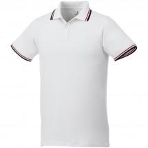 Fairfield Poloshirt mit weißem Rand für Herren - weiss/navy/rot