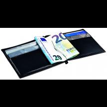 RFID Lederetui mit Clip - schwarz