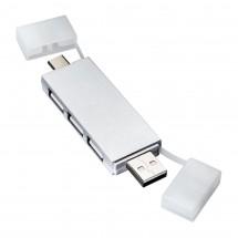 USB Hub REFLECTS-SABADELL SILVER - silber