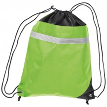 Non-Woven Gym-Bag mit reflektierendem Streifen - apfelgrün