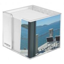 Zettelbox, doppelwandig mit Köcher - glasklar