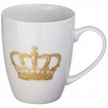 Tasse mit Kronen Aufdruck - weiss
