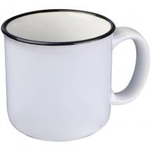 Tasse aus Keramik mit schwarzem Rand - weiss