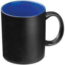 Tasse aussen schwarz, innen farbig - blau