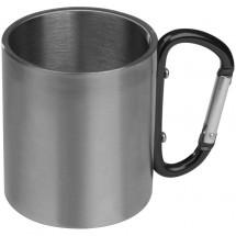 Tasse aus Metall mit Karabinerhaken - schwarz