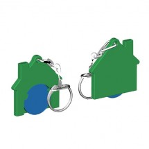Chiphalter mit 1 Euro-Chip Haus m. Gliederkette - blau/grün