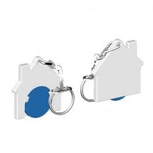 Chiphalter mit 1 Euro-Chip Haus m. Gliederkette - blau/weiß