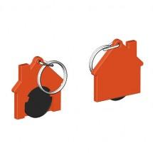 Chiphalter mit 1 Euro-Chip Haus m. Schlüsselring - schwarz/orange