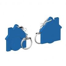 Chiphalter mit 1 Euro-Chip Haus m. Gliederkette - blau/blau