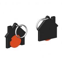 Chiphalter mit 1 Euro-Chip Haus m. Schlüsselring - orange/schwarz