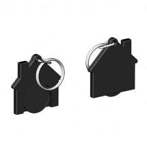 Chiphalter mit 1 Euro-Chip Haus m. Schlüsselring - schwarz/schwarz