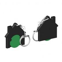 Chiphalter mit 1 Euro-Chip Haus m. Gliederkette - grün/schwarz