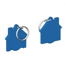Chiphalter mit 1 Euro-Chip Haus m. Schlüsselring - blau/blau