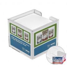 Zettelbox, doppelwandig m. Papier - glasklar