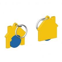 Chiphalter mit 1 Euro-Chip Haus m. Schlüsselring - blau/gelb