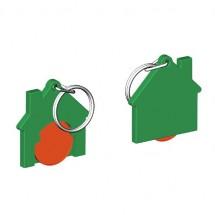 Chiphalter mit 1 Euro-Chip Haus m. Schlüsselring - orange/grün