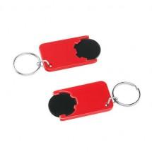 Chiphalter mit 1 Euro-Chip mit Schlüsselring - schwarz/rot