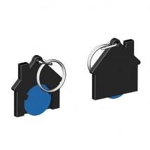 Chiphalter mit 1 Euro-Chip Haus m. Schlüsselring - blau/schwarz