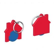 Chiphalter mit 1 Euro-Chip Haus m. Schlüsselring - blau/rot