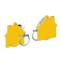 Chiphalter mit 1 Euro-Chip Haus m. Gliederkette - gelb/gelb