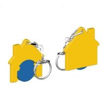 Chiphalter mit 1 Euro-Chip Haus m. Gliederkette - blau/gelb