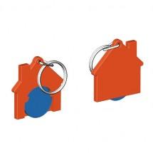 Chiphalter mit 1 Euro-Chip Haus m. Schlüsselring - blau/orange