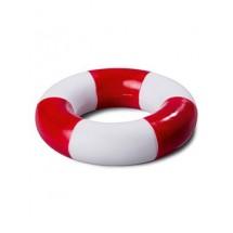 PVC Schwimmring, gestreift - weiß/rot