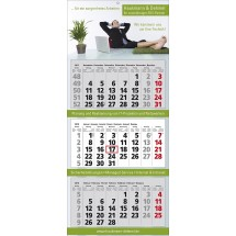 "Mehrblock-Wandkalender ""Classic 3"" 7-sprachig-schwarz /880_ rot"