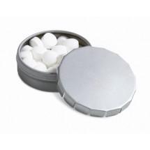 Micro Mini Klick Klack Dose mit Pfefferminz  - silber