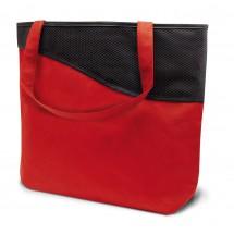 """Moderne PP-Einkaufstasche """"Lille"""" mit Reißverschluss - rot/schwarz"""