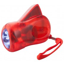 "Dynamo Taschenlampe ""H Power"" - rot/transparent"